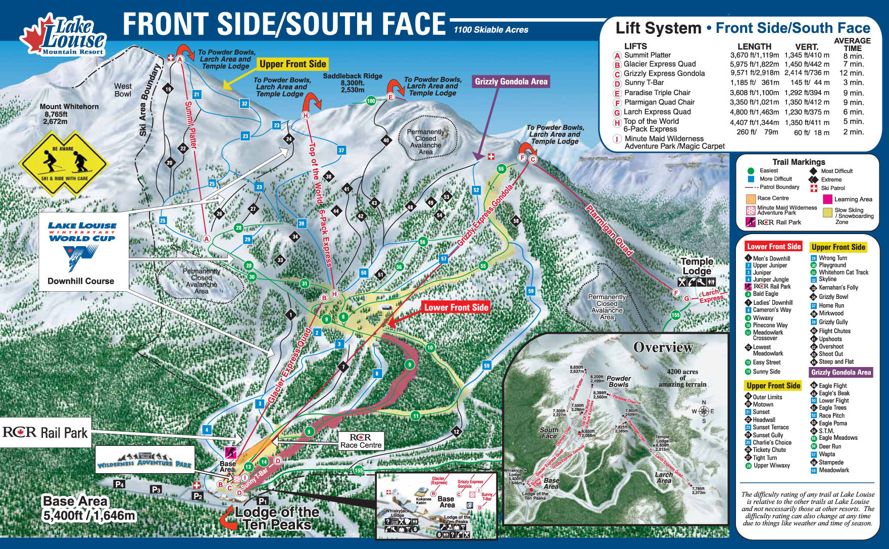 Lake Louise Front Side Piste Map