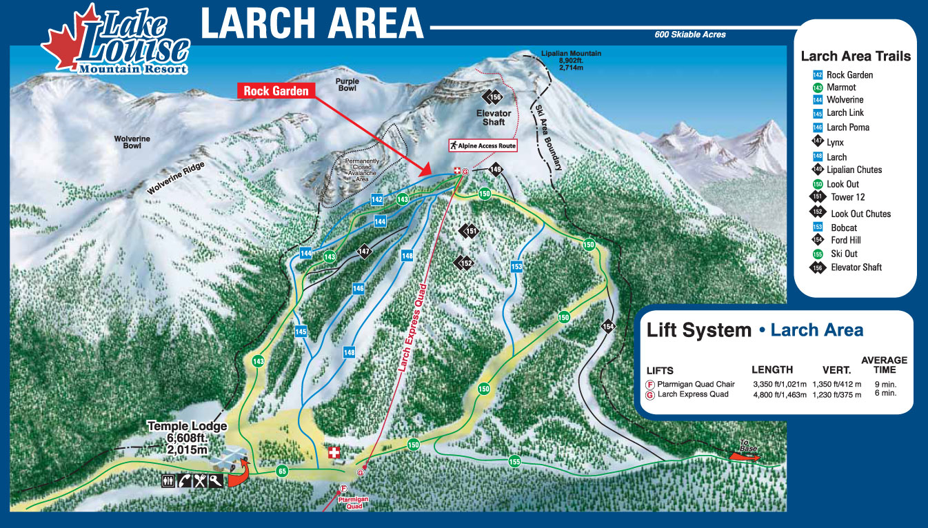 Lake Louise Larch Area Piste Map