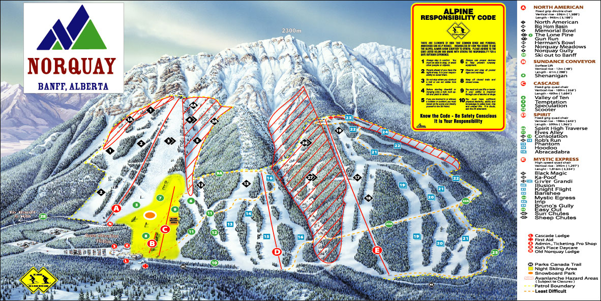 Banff Norquay Piste Map